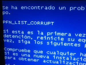 pfn-list-corrupt error of blue screen