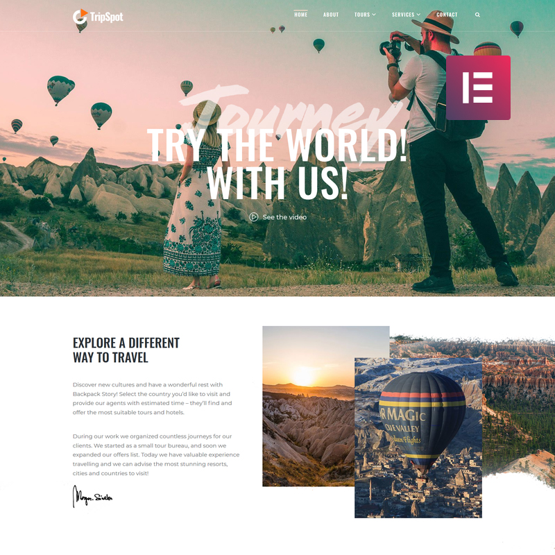 TripSpot - Travel Elementor WordPress Theme