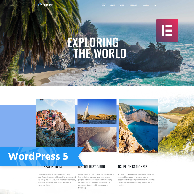 Expanor - Travel Agency Multipurpose Modern Elementor WordPress Theme