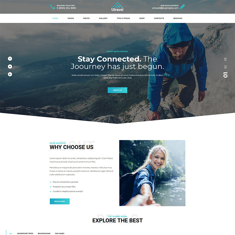 Utravel - Hiking And Outdoors Travel WordPress Theme